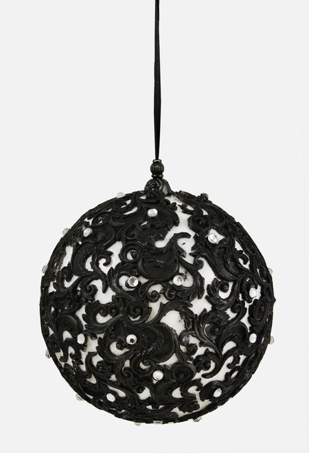 "Black and White Jewel Filigree Shatterproof Christmas Ball Ornament 4.75"" (121 mm) - IMAGE 1"