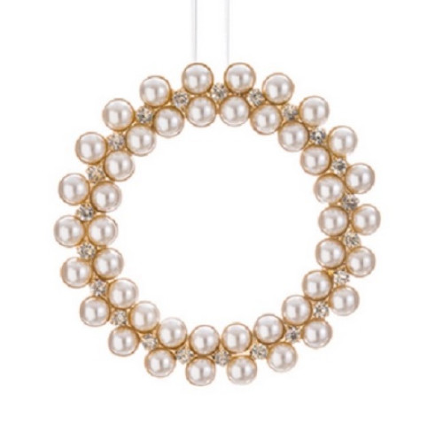 """5"""" Glamour Time Gold Rhinestone and Pearl Christmas Wreath Ornament - IMAGE 1"""