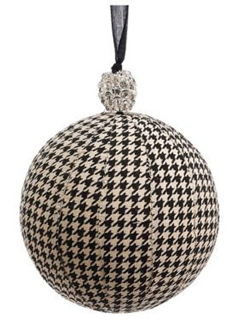 """Black and Beige Houndstooth with Rhinestone Cap Christmas Ball Ornament 6"""" (150mm) - IMAGE 1"""