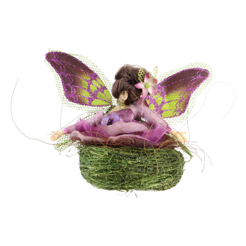 """5"""" Green and Purple Butterfly Fairy in Nest Christmas Ornament - IMAGE 1"""