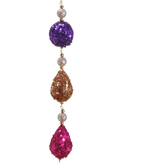 """9"""" Pink and Gold Sequin Christmas Ball and Drop Dangle Ornament - IMAGE 1"""