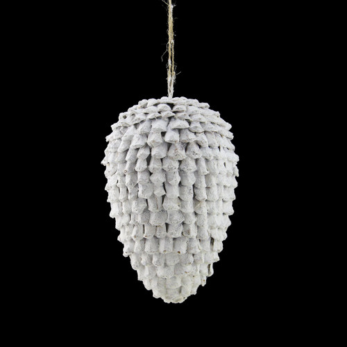 """8"""" White Glittered Pine Cone Hanging Decorative Christmas Ornament - IMAGE 1"""