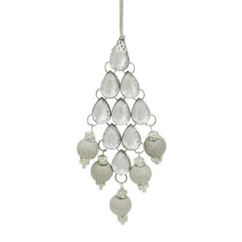 """5.5"""" Silver Sparkling Rhinestone and Ball Drop Christmas Ornament - IMAGE 1"""