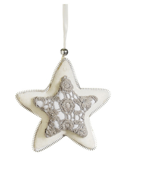 """5"""" Gray and Cream White Star Hanging Christmas Ornament - IMAGE 1"""