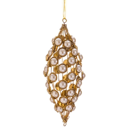 """9"""" Glamour Time Gold Glitter and Pearl Christmas Tear Drop Ornament - IMAGE 1"""