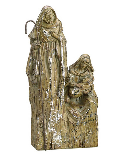 """10"""" Religious Inspirational Brown with Silver Glitter Holy Family Christmas Nativity Decoration - IMAGE 1"""