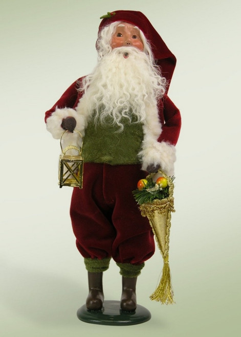 """12.5"""" Decorative Red and White Santa Claus with Brass Lantern Christmas Table Top Figure - IMAGE 1"""