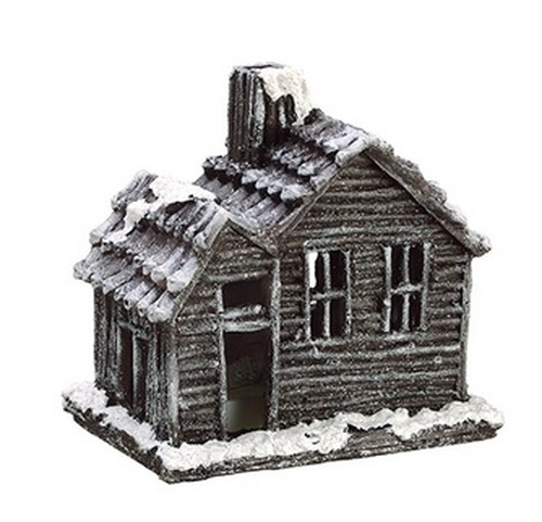 "Country Cabin Lighted Glittered Snowed Flocked House Table Top Christmas Decoration 7"" - IMAGE 1"
