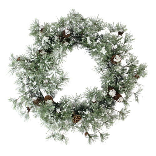 """24"""" Decorative Frosted Snowy Pine Artificial Christmas Wreath - Unlit - IMAGE 1"""