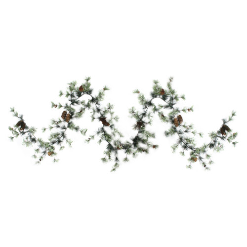 9.5' Frosted Pine with Pine Cones Artificial Christmas Garland - Unlit - IMAGE 1