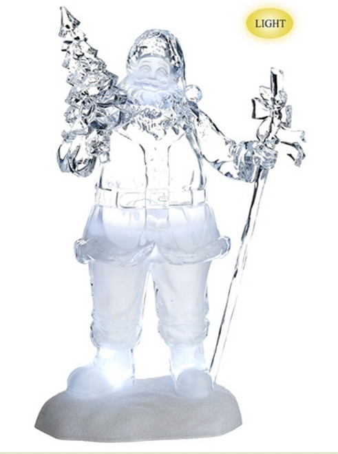 """16"""" Clear Icy Crystal Jolly Santa with Tree LED Musical Christmas Figurine - IMAGE 1"""
