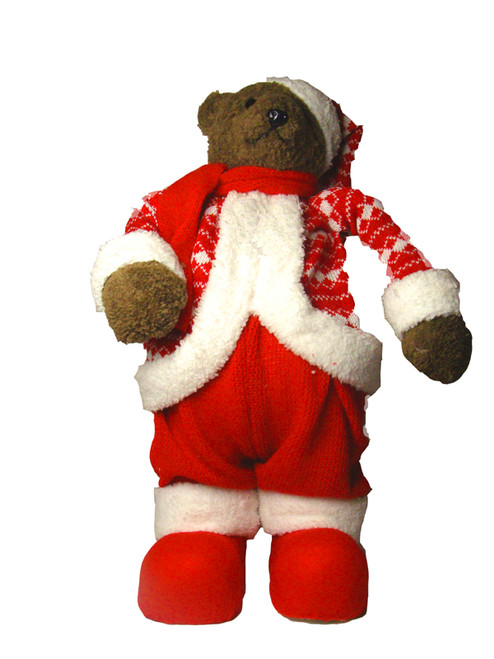 """19"""" Red and White Knit Suit Bear Christmas Tabletop Figurine - IMAGE 1"""