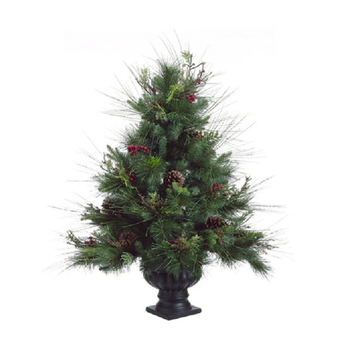 """Artificial Christmas Tree With Pine Cones: 26"""" Potted Pine Cone Berry Winter Vermont Pine Medium"""