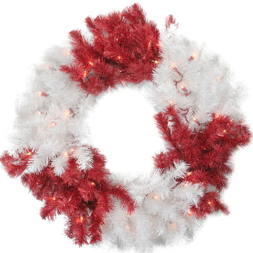 Pre-Lit Red and White Artificial Christmas Wreath - 29-Inch, Clear Lights - IMAGE 1