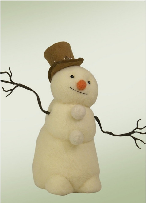 """11.25"""" Cream and Brown Wool Felted Posable Snowman with Top Hat Christmas Figure Decoration - IMAGE 1"""