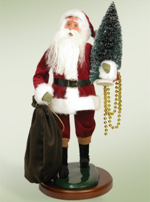 """19"""" Traditional Red Velvet Santa Claus with Tree Christmas Caroler Figure - IMAGE 1"""