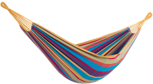 "144"" Yellow and Purple Striped Two Person Brazilian Style Hammock - IMAGE 1"
