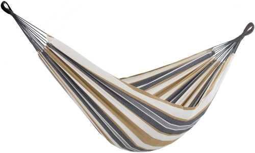 """144"""" Gray and Gold Striped Two Person Brazilian Style Hammock - IMAGE 1"""