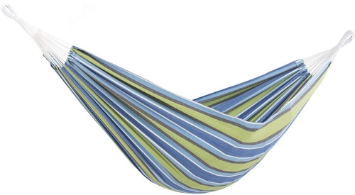 """144"""" Blue and Brown Striped Two Person Brazilian Style Hammock - IMAGE 1"""