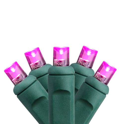 50 Pink LED Wide Angle Commercial Grade Christmas String Lights - 24.5 ft Green Wire - IMAGE 1