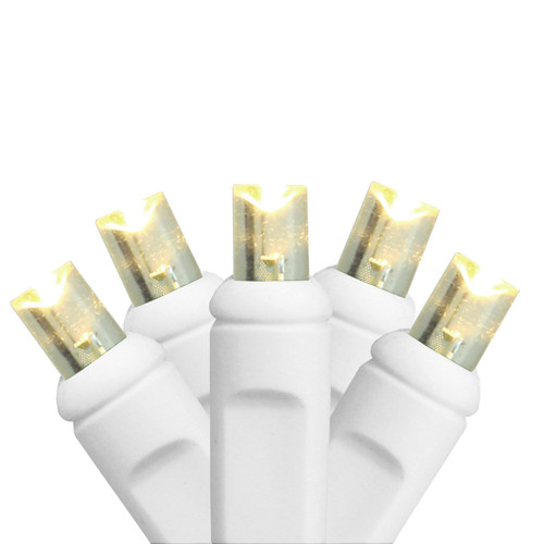 35-Count Warm White Commercial Grade LED Wide Angle Christmas Lights - 17.5 ft White Wire - IMAGE 1