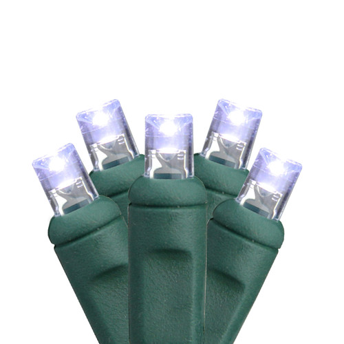 50-Count Clear Commercial LED Wide Angle Christmas Lights - 24.5 ft Green Wire - IMAGE 1