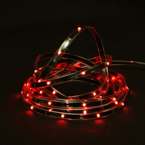 18' Red LED Outdoor Christmas Linear Tape Lighting - Black Finish - IMAGE 1