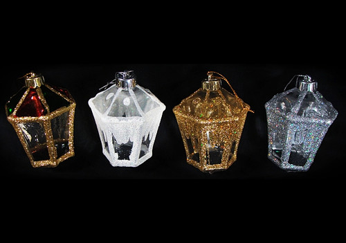 """Club Pack of 288 White and Gold Glitter Lantern Christmas Ornaments 4"""" - IMAGE 1"""