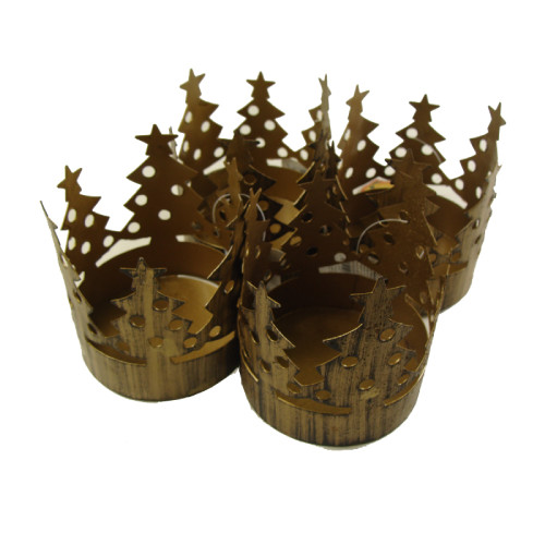 "Club Pack of 72 Bronze Christmas Tree Pillar Candle Holders 3.75"" - IMAGE 1"