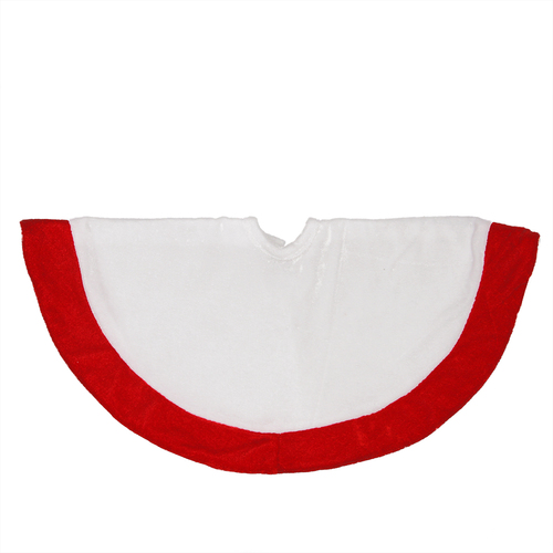 "18"" White and Red Velveteen Mini Christmas Round Tree Skirt - IMAGE 1"