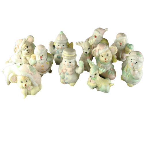 """Club Pack of 144 Pastel and Ivory Snowman and Santa Claus Christmas Figurines 3"""" - IMAGE 1"""