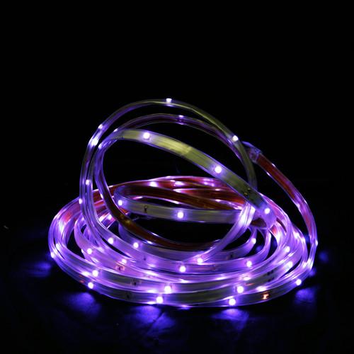 18' Purple LED Outdoor Christmas Linear Tape Lighting - White Finish - IMAGE 1