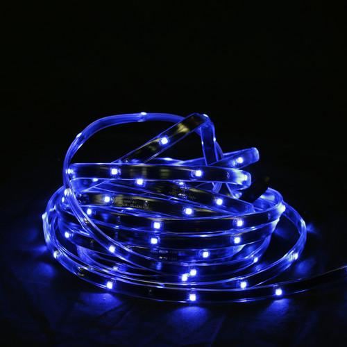 18' Blue LED Outdoor Christmas Linear Tape Lighting - Black Finish - IMAGE 1