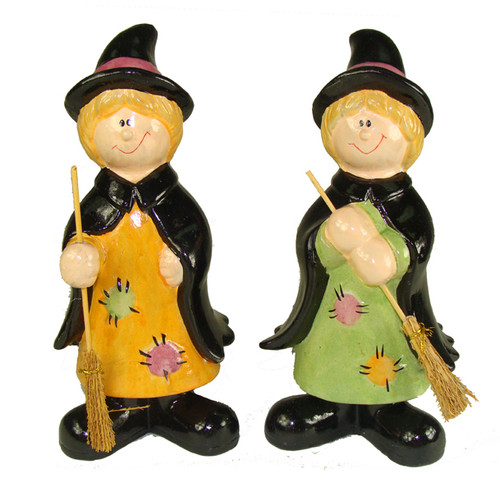 """Club Pack of 36 Black and Brown Friendly Witch Halloween Tabletop Figurines 8"""" - IMAGE 1"""