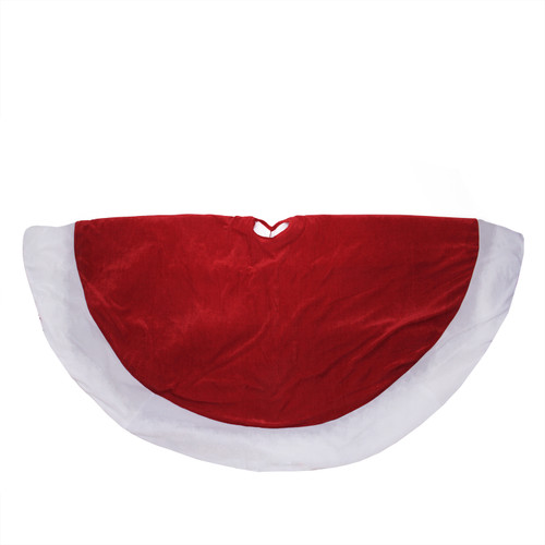 """60"""" Red and White Solid Round Christmas Tree Skirt - IMAGE 1"""