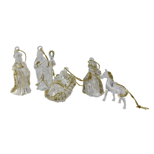 """432ct White and Gold Glittered Nativity Figurine Christmas Ornaments 3"""" - IMAGE 1"""