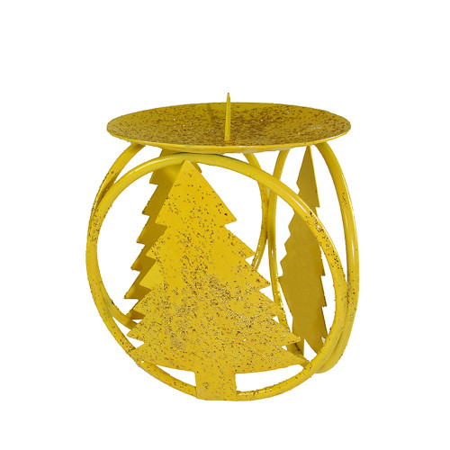 """Club Pack of 72 Yellow Christmas Tree Pillar Candle Holders 4.25"""" - IMAGE 1"""