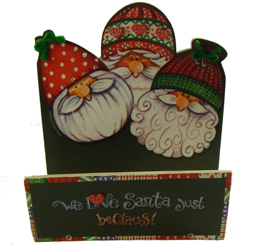 """Club Pack of 72 Green and Red 'We Love Santa Just Be Claus' Christmas Greeting Card Holders 7.5"""" - IMAGE 1"""