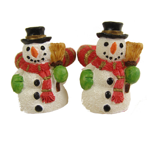 "Club Pack of 288 White and Orange Friendly Snowman Christmas Taper Candle Rings 1.25"" - IMAGE 1"