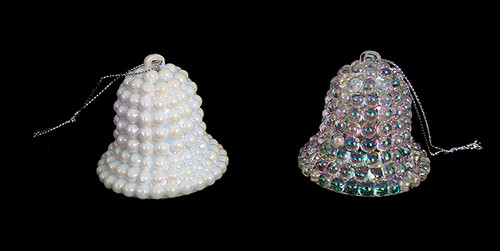 """Club Pack of 432 White and Clear Iridescent Pearl Christmas Bell Ornaments 1.5"""" - IMAGE 1"""