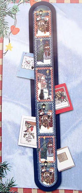 "Club Pack of 144 Blue and White Snowmen Christmas Wall Cardholders 42"" - IMAGE 1"