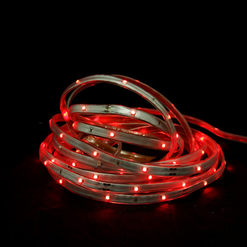 18' Red LED Outdoor Christmas Linear Tape Lighting - White Finish - IMAGE 1