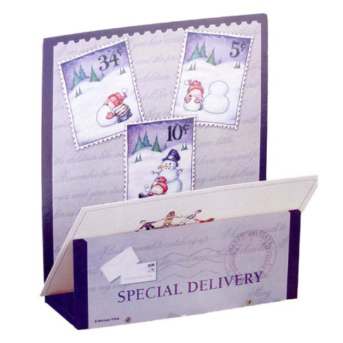 """Club Pack of 72 Purple and White 'Special Delivery' Snowman Greeting Christmas Card Holders 7.5"""" - IMAGE 1"""