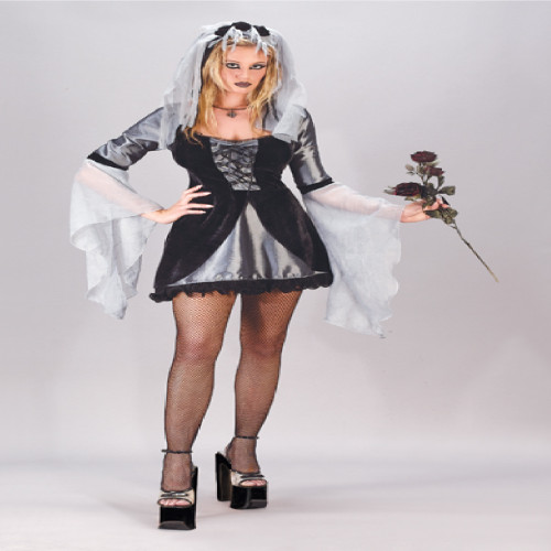 Black and Silver Wicked Bride Women Adult Halloween Costume - Large - IMAGE 1