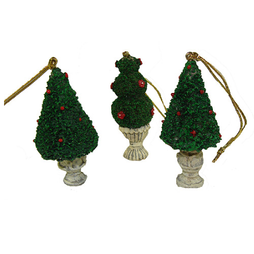 """576ct Green and Ivory Potted Topiary Tree Christmas Ornaments 2.5"""" - IMAGE 1"""