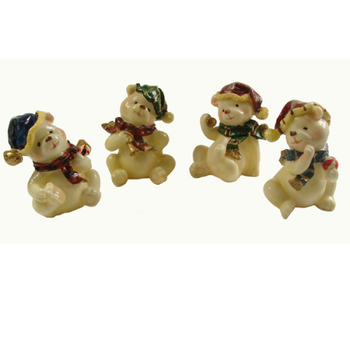"Club Pack of 120 Beige Classic Bear Christmas Figurines 4"" - IMAGE 1"