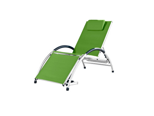 "67"" Green Foldable and Adjustable Aluminum Outdoor Lounge Chair - IMAGE 1"
