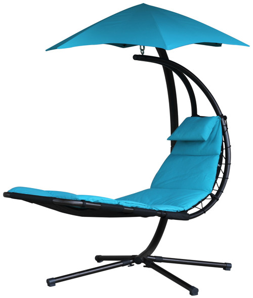 "84"" Blue Outdoor Lounge Chair with an Overhanging Umbrella - IMAGE 1"