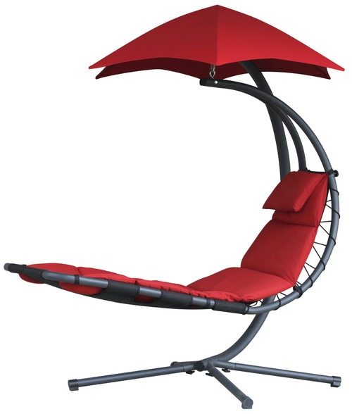 "84"" Red Outdoor Lounge Chair with an Overhanging Umbrella - IMAGE 1"