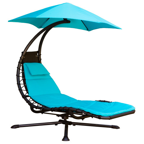 "74"" Blue Outdoor Lounge Chair with an Umbrella- Pivots 360° - IMAGE 1"